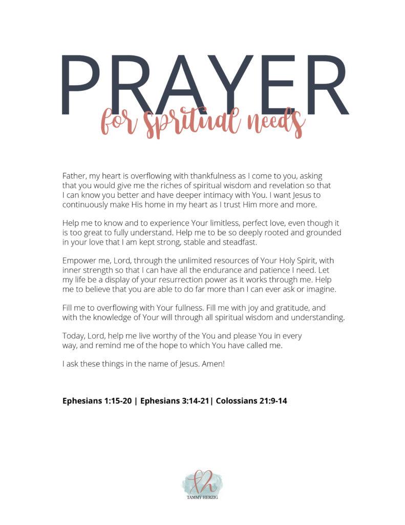 Prayer for Spiritual Needs